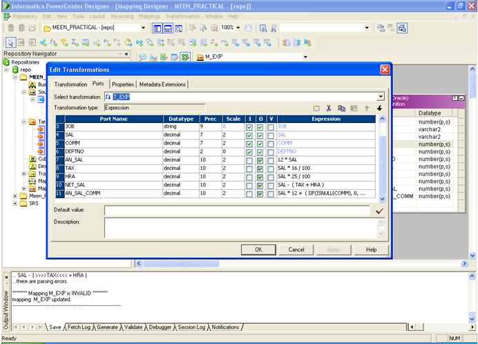 EXPRESSION TRANSFORMATION IN INFORMATICA ~ Datawarehouse Architect