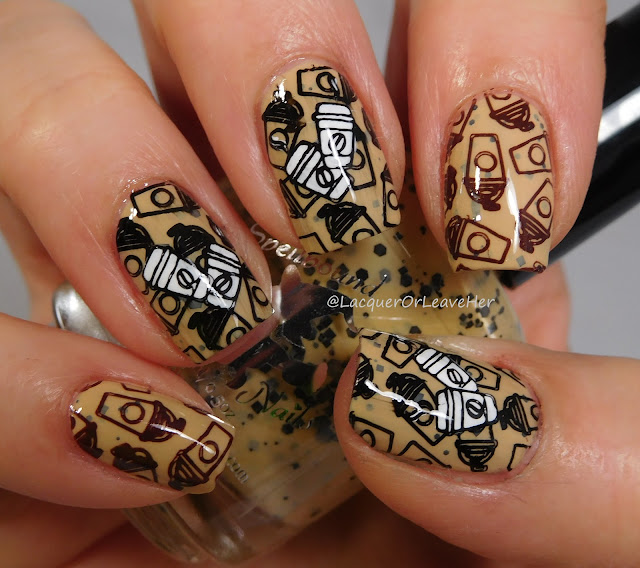 UberChic Beauty Bottoms Up over Spellbound Nails Marauder's Map