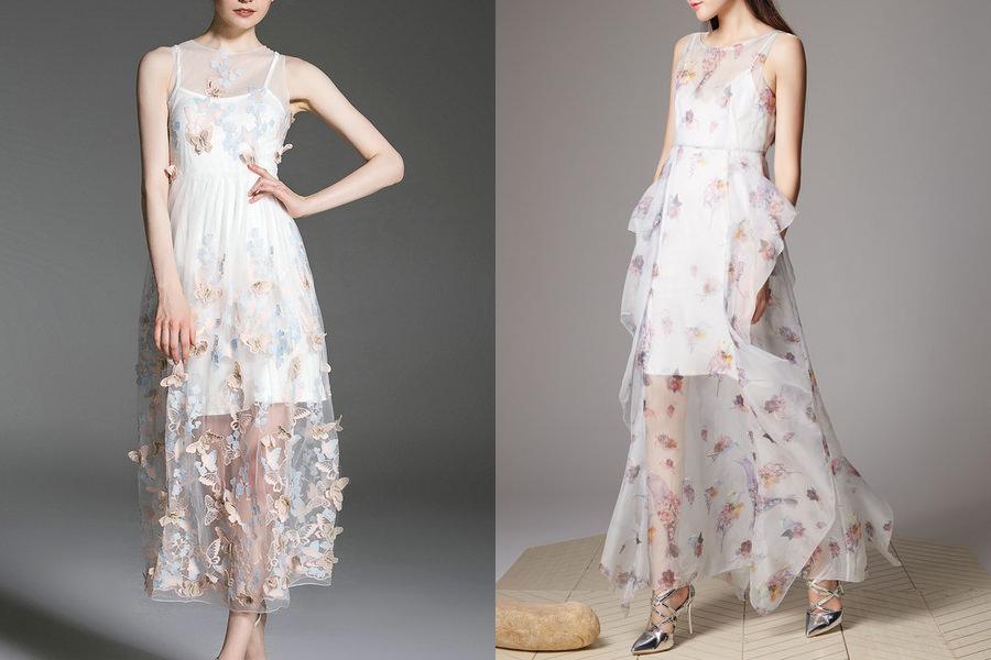 Vestidos florais com fundo branco