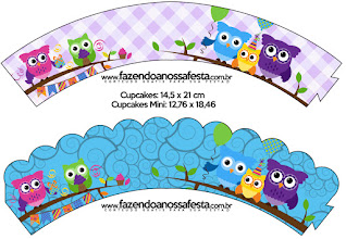 Colored Owls: Free printable Wrappers for Cupcakes.