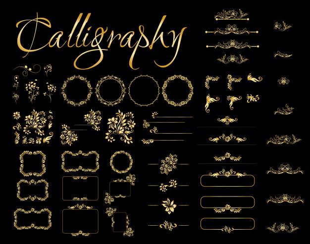 Golden calligraphic design elements on black background. Free Vector