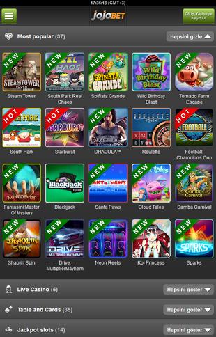 Jojobet Casino Mobile Screen