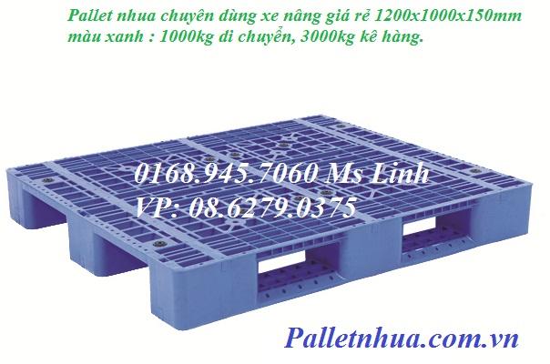 Pallet nhựa lõi sắt 1200x1000mmx150mm (tải động-tải tĩnh: 2-5 tấn)
