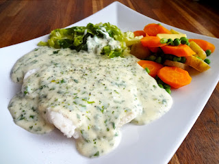 Steamed Cod & Parsley Sauce