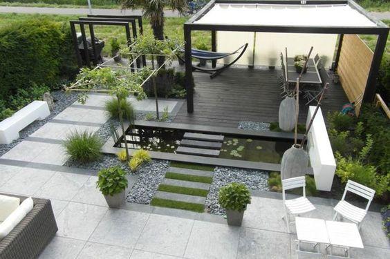 terasa, lounge, zona de luat masa, fantana, alei pietris, mobilier gradina moderna, idei simple, gradina dizain