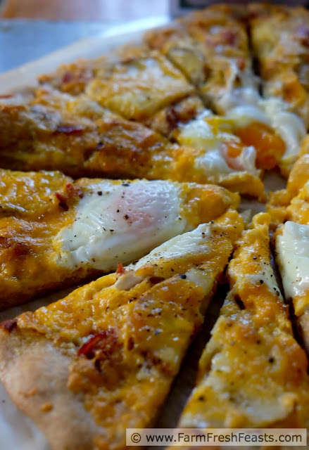 This pizza combines bacon, eggs, and potatoes with 2 kinds of cheese for a sensational savory breakfast pizza any time of day.