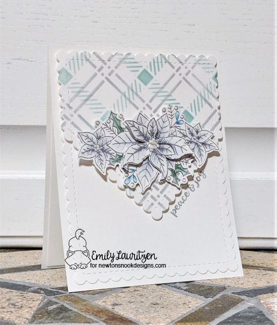 Peace and joy by Emily features Poinsettia Blooms, Sentiments of the Season, Plaid, and Frames & Flags by Newton's Nook Designs: #newtonsnook