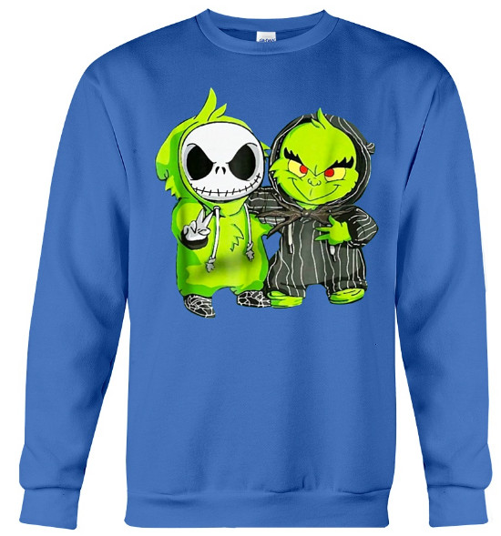 Baby Grinch and Jack Skellington Hoodie, Baby Grinch and Jack Skellington Sweatshirt, Baby Grinch and Jack Skellington Sweater, Baby Grinch and Jack Skellington T Shirt
