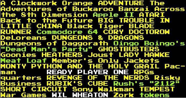 Quelques-unes des nombreuses références de Ready Player One