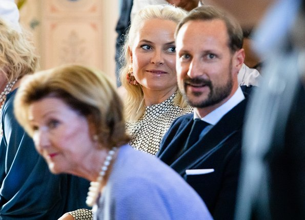 Crown Princess Mette-Marit wore DIANE VON FURSTENBERG Rowe dot print stretch silk dress. Queen Sonja, Crown Prince Haakon at SIKT conference