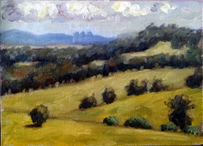 Oil painting of rolling hills partially covered in eucalypts, with distant hills and clouds.