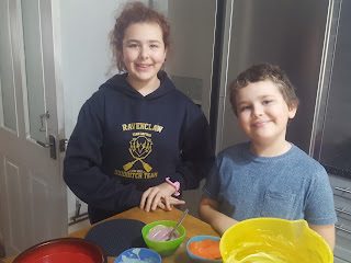Top Ender and Dan Jon with the coloured cake mixture