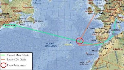 Punto de encuentro entre el Mary Celeste y el Dei Gratia