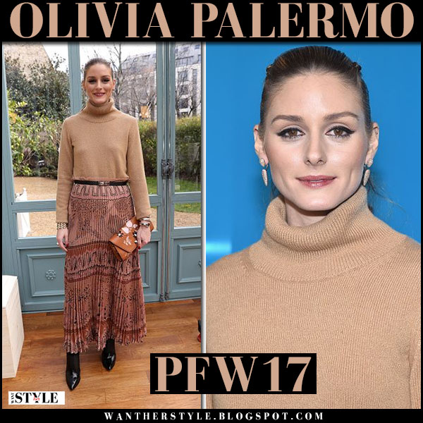 Olivia Palermo in beige turtleneck sweater, brown printed pleated skirt with brown clutch front row valentino paris fashion week what she wore outfit 2017