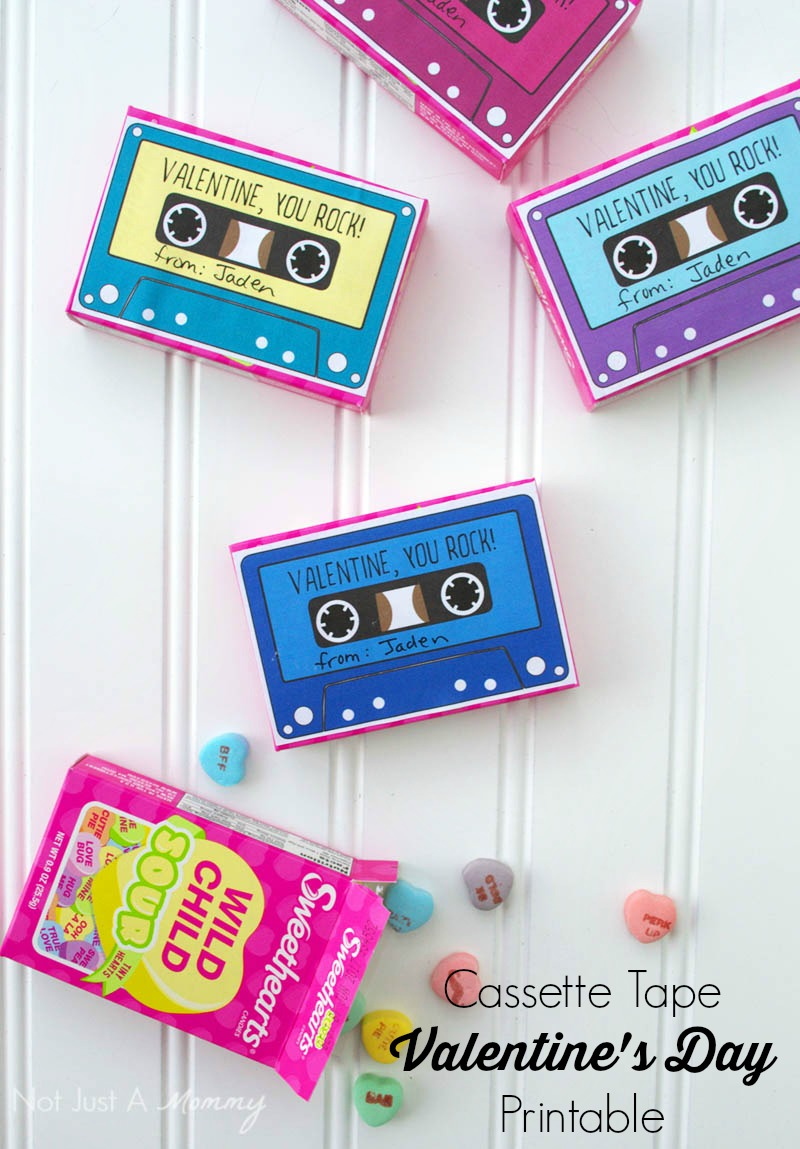Turn candy boxes into cassette tape valentines with my free download