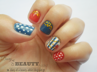 Blue & Red mix-and-match Nails (mani & pedi) tutorial