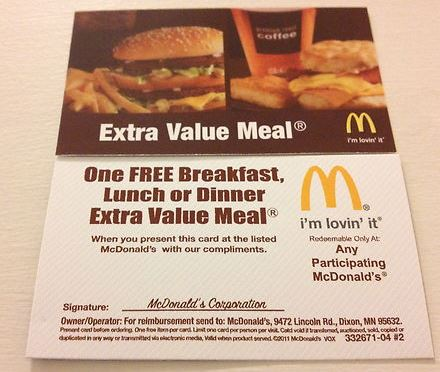 mcdonalds free value meal coupon
