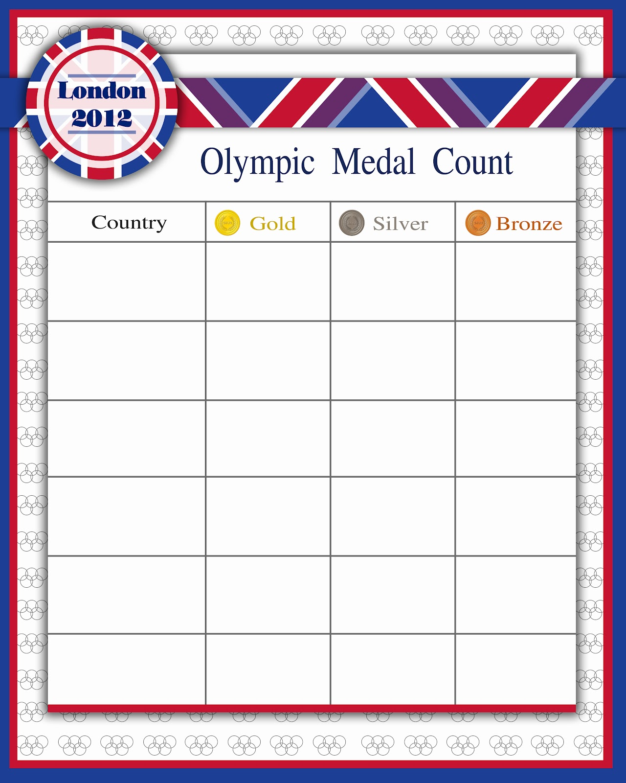 First Off Is A Medal Count Sheet With Es For Six Countries Print More If You Would Like To Track Than Can Keep Tally Marks Every
