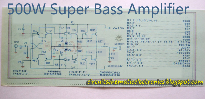 Super Bass Power Amplifier 2SC2922-2SA1216 - Electronic Circuit