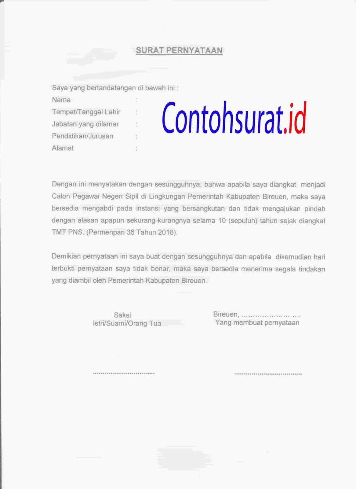 Contoh Surat Pernyataan Tidak Mengajukan Pindah Selama 10