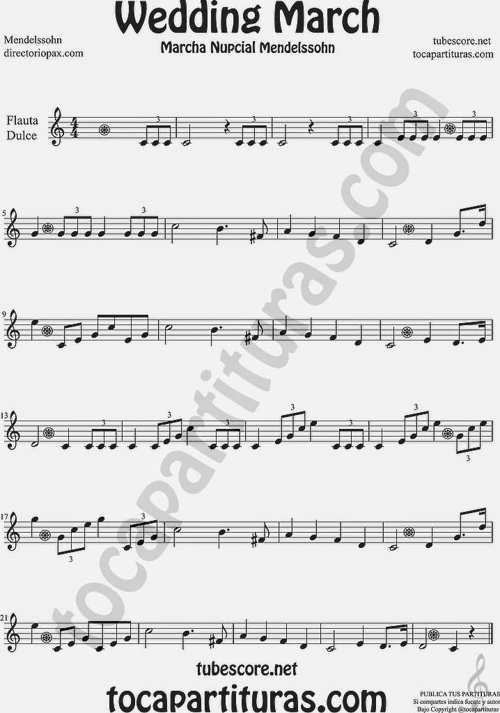 Marcha Nupcial Partitura de Flauta Fácil Dulce o de Pico Wedding March by Mendelssohn Sheet Music for Easy Song Recorder Music Scores