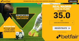 betfair supercuota Real Madrid gana al Plzen 23 octubre