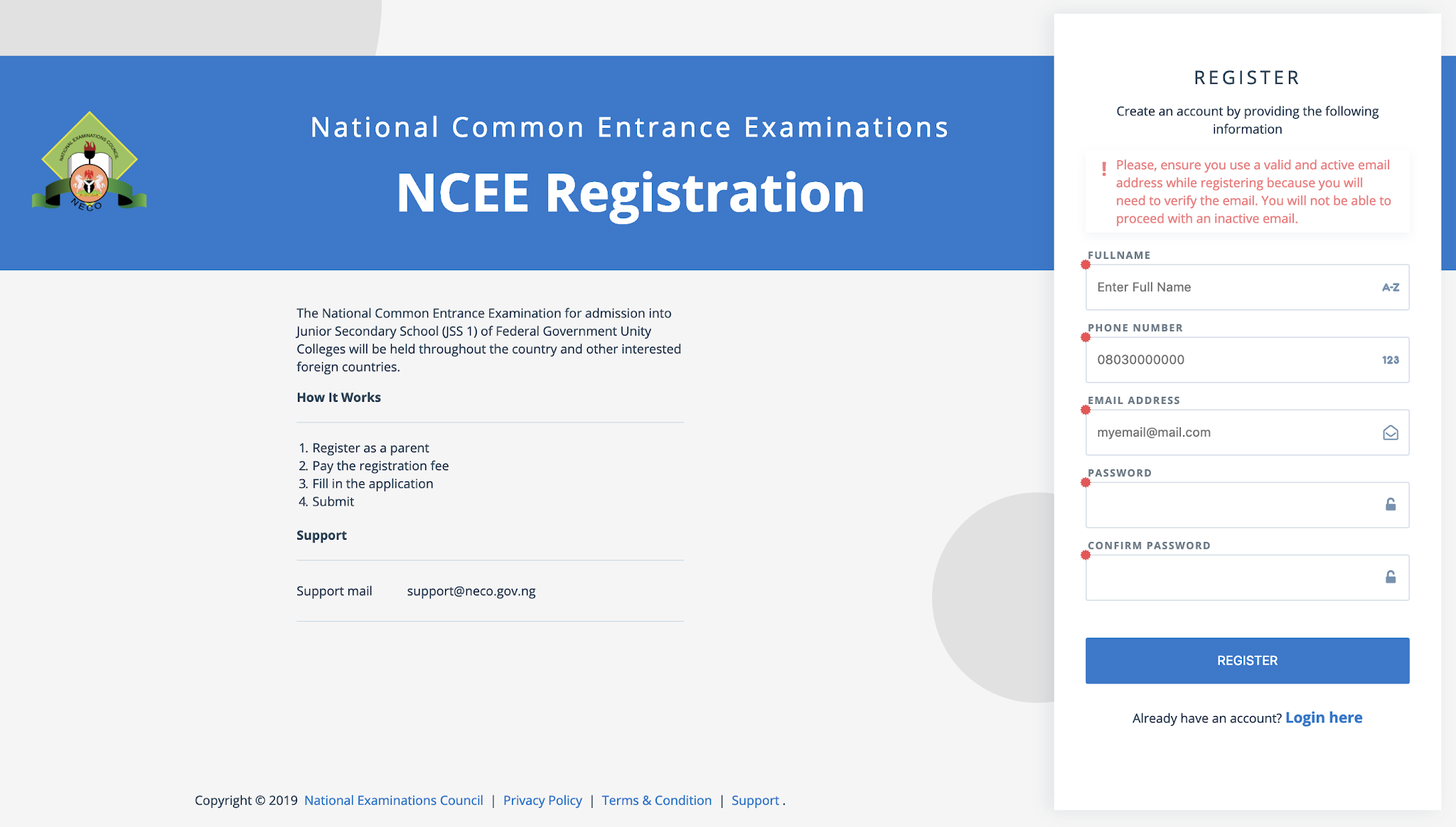 NCEE 2021/2022 Registration Form for Unity Schools [Photos]