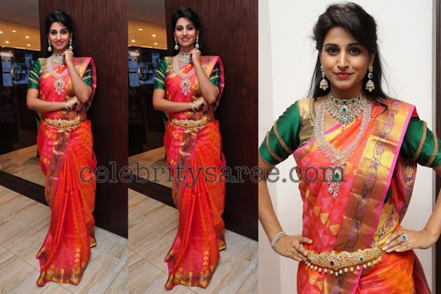 Shamili Pink Orange Silk Saree