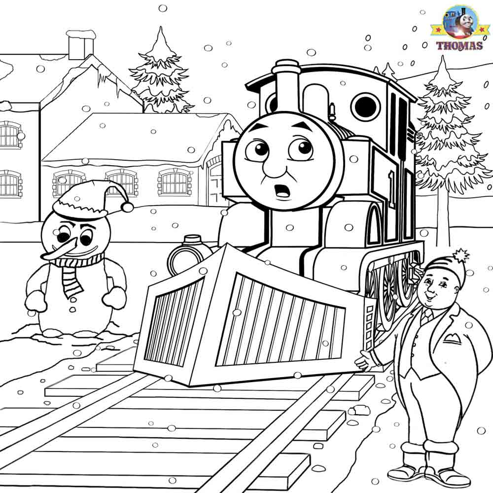 Printable christmas colouring pages for kids thomas winter for Thomas the train christmas coloring pages