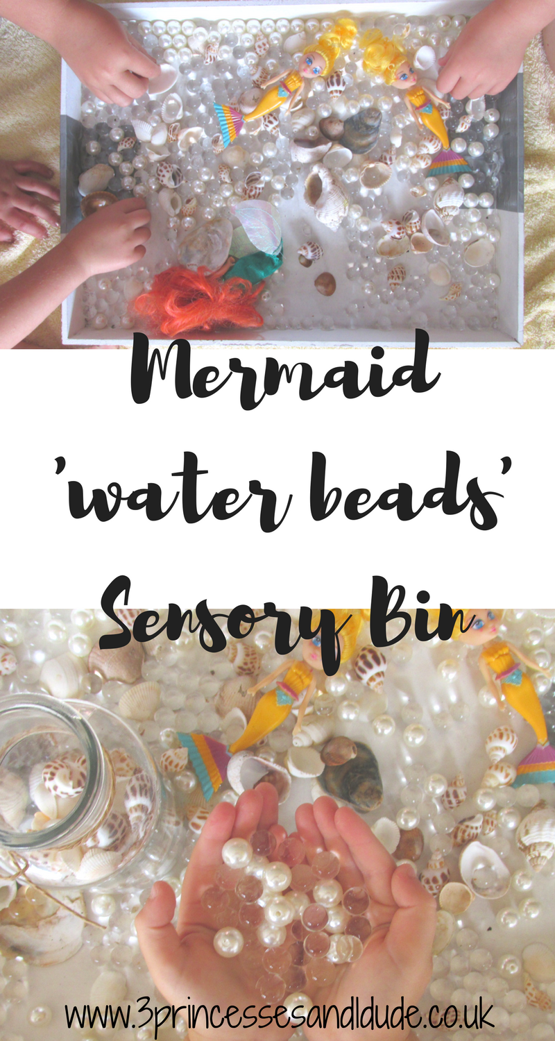 Mermaid Sensory Bin - Using Water Beads, Pearls and Shells