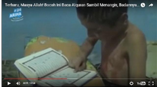 Masya Allah, Bocah Ini Baca Alquran Sambil Menangis, Tubuhnya Berdarah (Video)