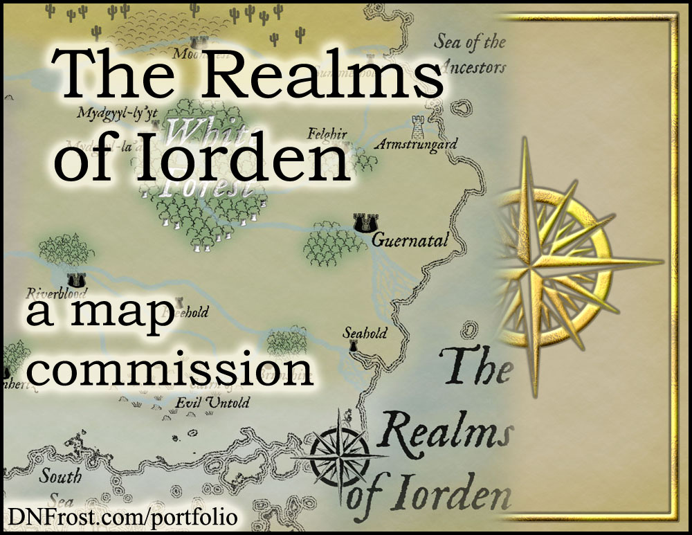 The Realms of Iorden: fantasy world for the podcast TOAFN http://www.dnfrost.com/2016/06/the-realms-of-iorden-map-commission.html A map commission by D.N.Frost @DNFrost13 Part 1 of a series.