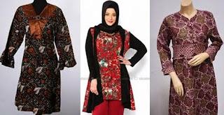 model baju batik atasan wanita gemuk kombinasi terbaru