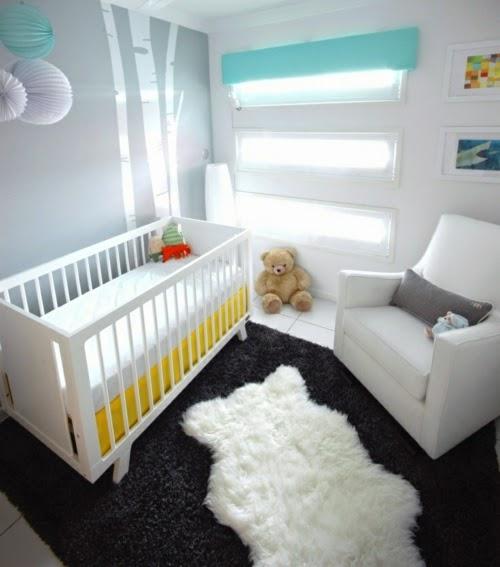 habitación bebé gris amarillo
