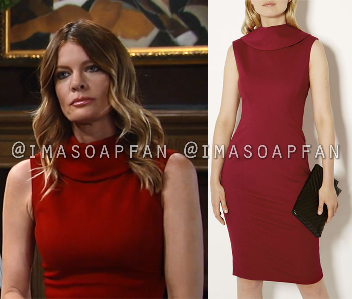 Nina Reeves, Michelle Stafford, Red Reverse Point Collar Pencil Dress, General Hospital, GH