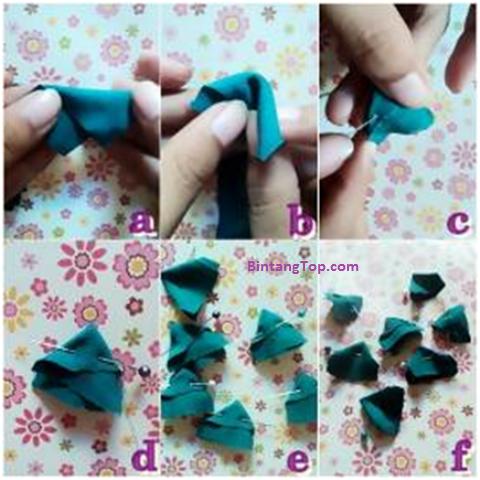 cara menjahit kain jadi bunga