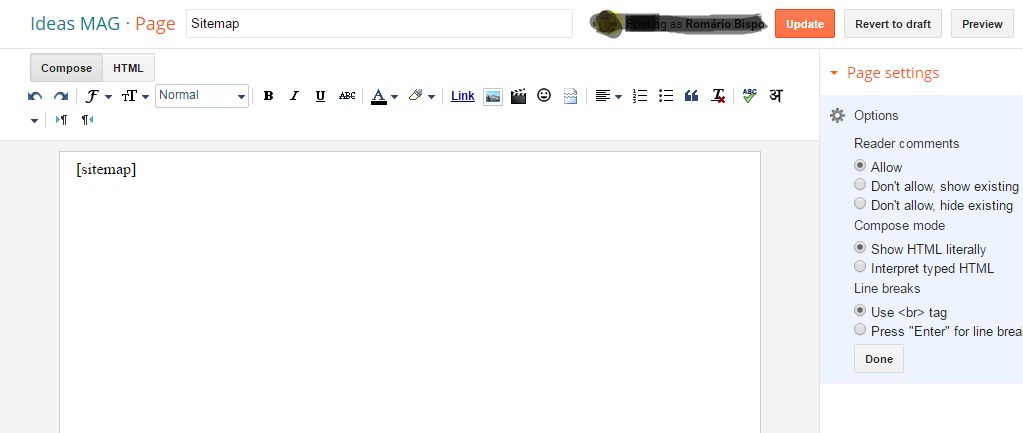 Now Click Publish Button And Check The Published Page To See Newly Added Sitemap Widget