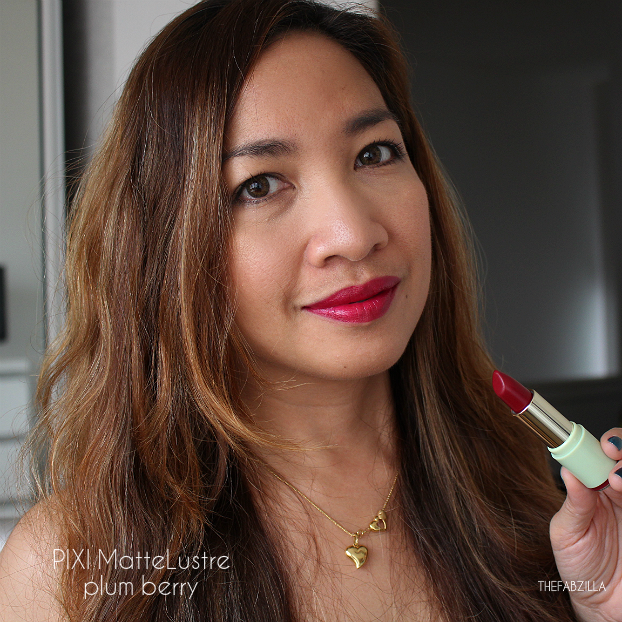 pixi mattelustre lipstick review, swatch, pixi plum berry