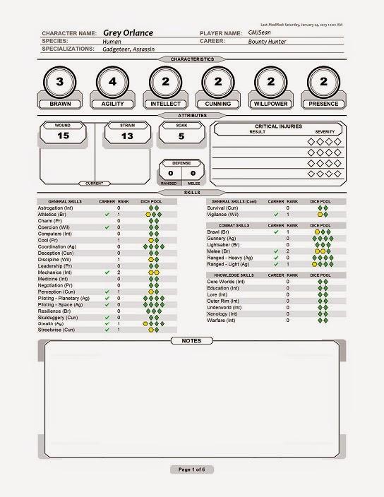 Edge Empire Ship Character Sheets