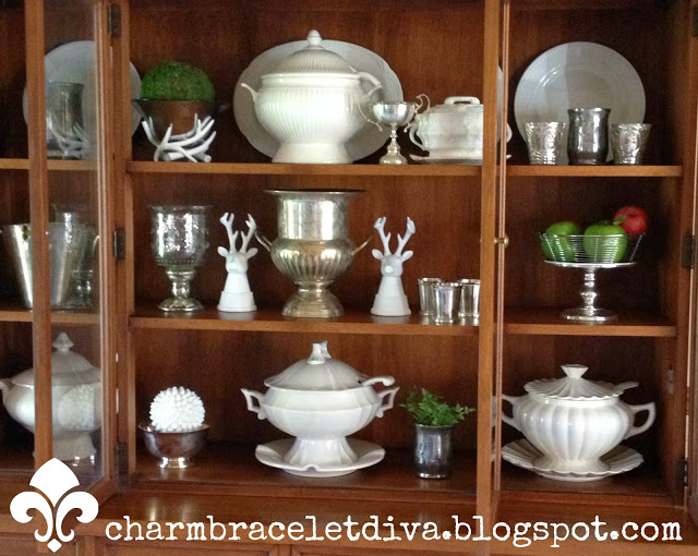 Pottery Barn-inspired china cabinet hutch ironstone silver
