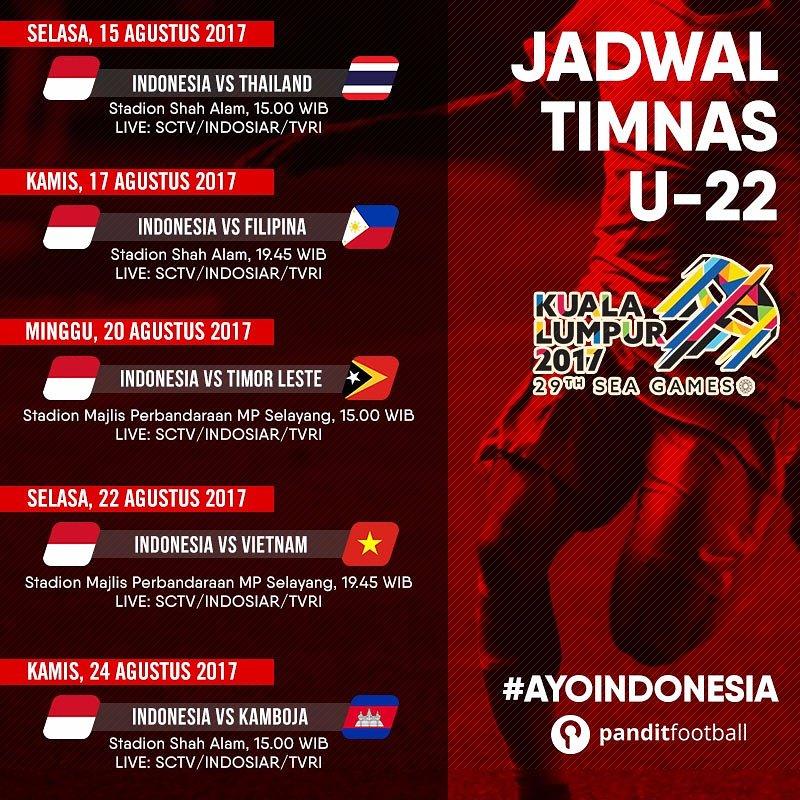 jadwal siaran langsung sea 2017 timnas indonesia vs