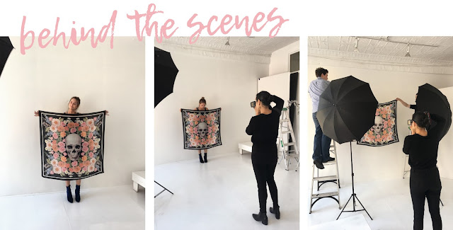 Behind the scenes of scarf photoshoot for Dena Cooper's silk scarf