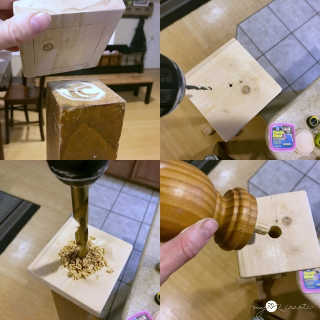 attaching finial to top of coat rack
