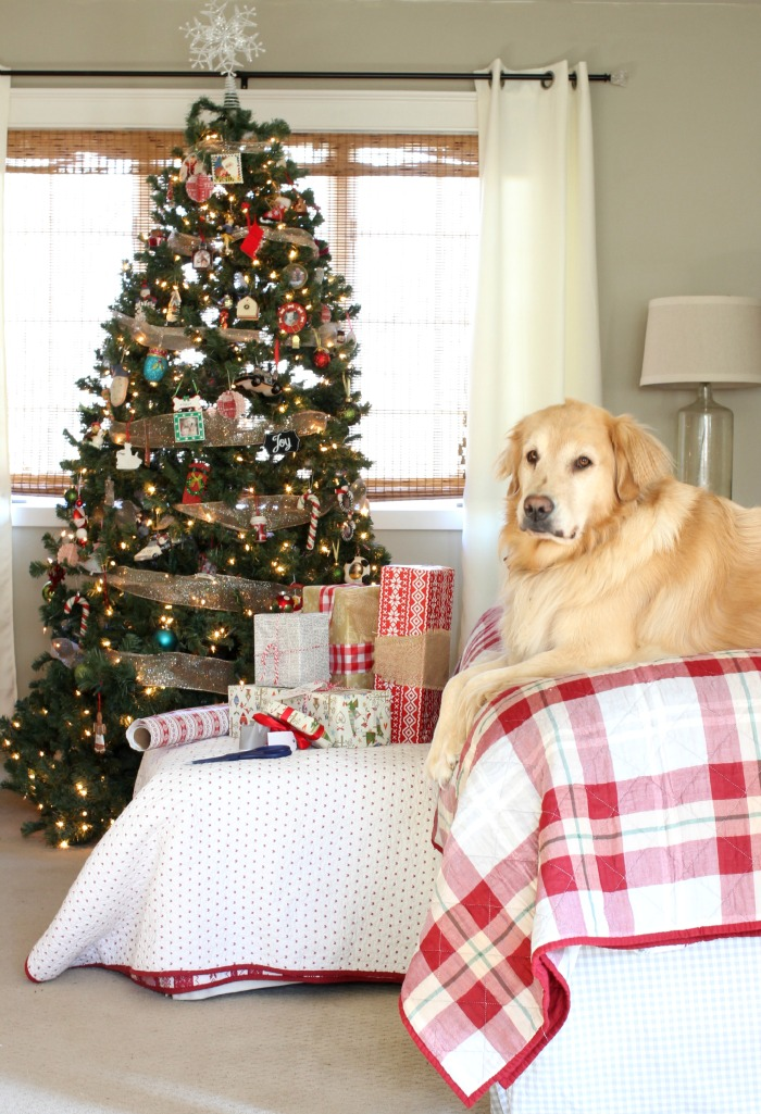 Golden Retriever in master bedroom with Christmas decor - www.goldenboysandme.com