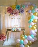 Decoración temática de unicornios para cumpleaños