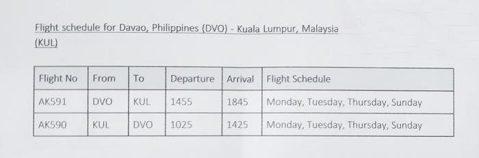 Davao-Kuala Lumpur - Davao Flight Schedules