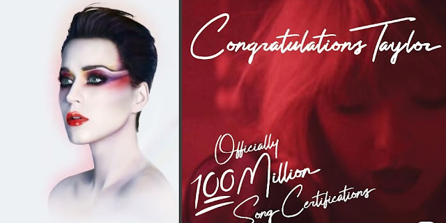 """Katy Perry's album """"Witness"""" Vs Taylor's 100 Million Song Certifications"""