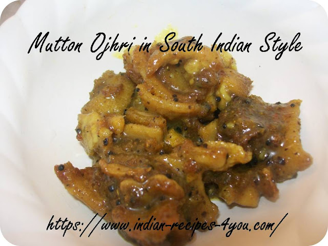 Mutton ojhri in South Indian Style