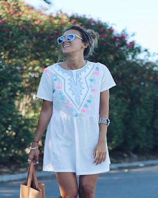 vestido bordado blanco corto de verano juvenil