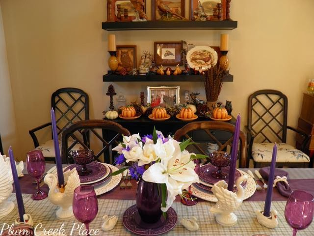 Purple and White Fall Tablescape
